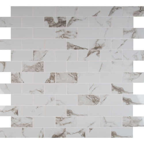 MS International  Pietra Series: Statuario 2X4 Polished Mosaic NPIESTA2X4P