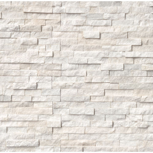 MS International Stacked Stone Series: Arctic White 6x24 Split Face Ledger Panel LPNLQARCWHI624