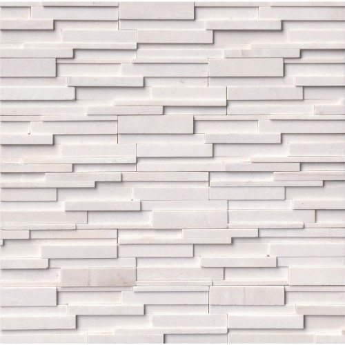 MS International Stacked Stone Series: Arctic White 6x24 3D Honed Ledger Panel LPNLMARCWHI624-3DH