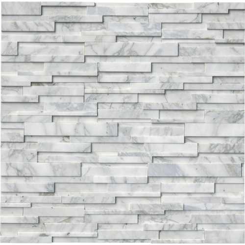 MS International Stacked Stone Series: Calacatta Cressa 6x24 3D Honed Ledger Panel LPNLMCALCRE624-3DH