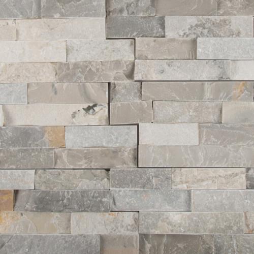MS International Stacked Stone Series: Sunset Silver 6X24 Split Face Ledger Panel LPNLQSUNSIL624