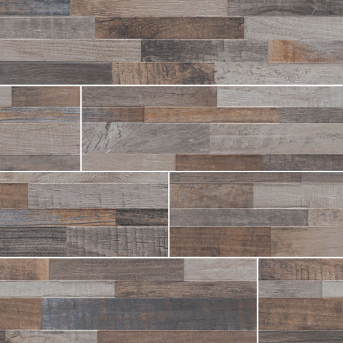 MS International Stacked Stone Series: Keywood Multicolor 6X24 Matte Porcelain Ledger Panel NKEYMUL6X24