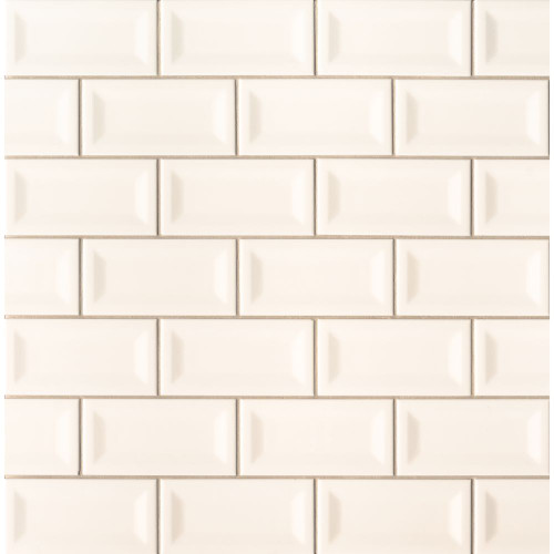 MS International Backsplash Series: Almond Glossy 3X6 Inverted Beveled Subway Tile NALMGLO3X6INVBEV