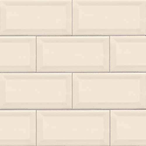 MS International Backsplash Series: Almond 3X6 Beveled Glossy Subway Tile NALMGLO3X6BEV