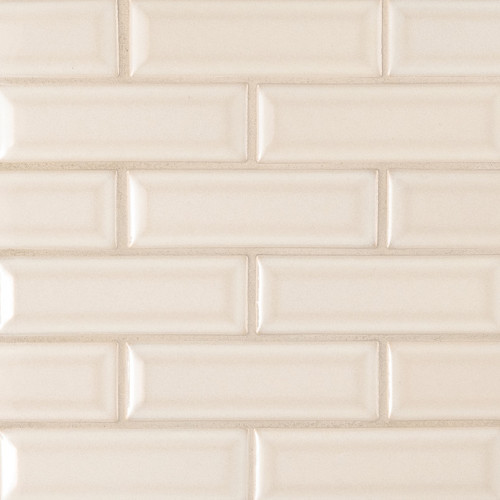 MS International Backsplash Series: Antique White Glossy 2x6 Bevel Ceramic Subway Tile SMOT-PT-AW-2X6B