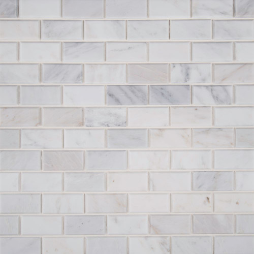 MS International Backsplash Series: Arabescato Carrara 2x4 Honed and Beveled Subway Tile SMOT-ARA-2X4HB