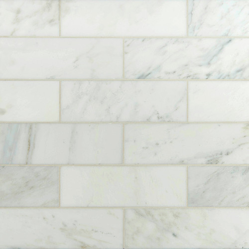 "MS International Backsplash Series: Arabescato White Carrara 4"" x 12"" Subway Tile TARACAR412H"