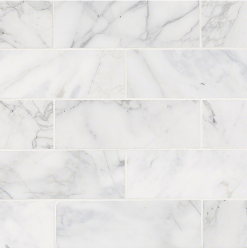 MS International Backsplash Series: 4x12 Calacatta Cressa White Marble Honed Subway Tile TCALCRE412H