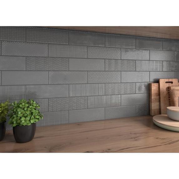 MS International Backsplash Series: Urbano Graphite 3D Mix 4x12 Glossy Ceramic Subway Tile NURBGRAMIX4X12