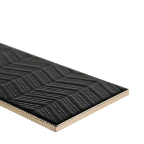 MS International Backsplash Series: Urbano Ink 3D Mix 4x12 Glossy Ceramic Subway Tile NURBINKMIX4X12
