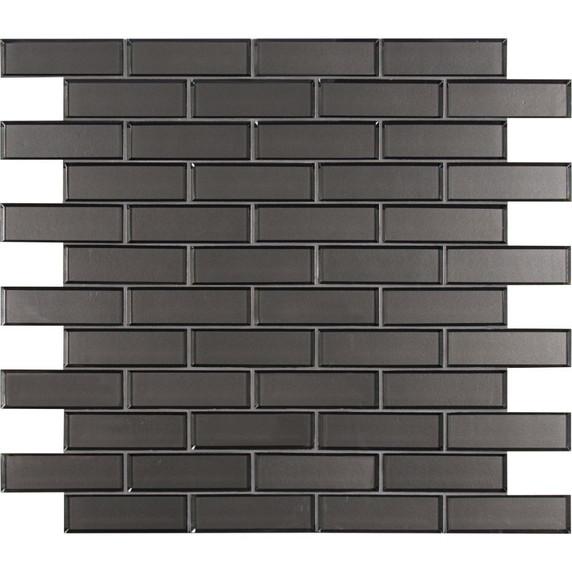 MS International Backsplash Series: Metallic Gray 2x6x8 Glossy Bevel Glass Subway Tile SMOT-GLSST-MEGRBE8MM
