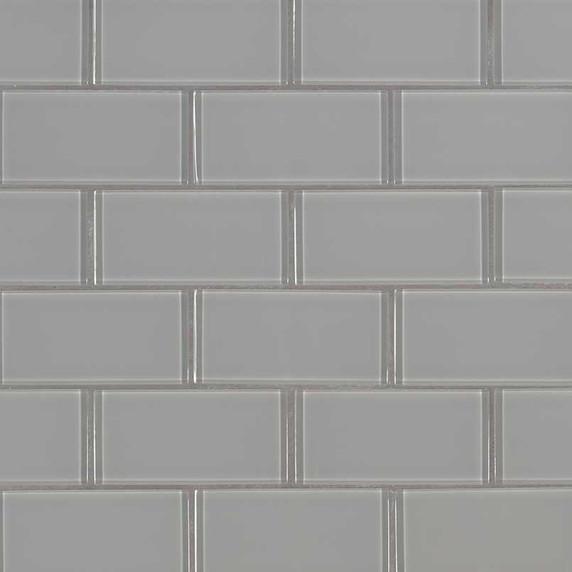 MS International Backsplash Series: 2x4 Oyster Gray Brick Pattern Glass Mosaic Subway Tile SMOT-GLSST-OYGR8MM