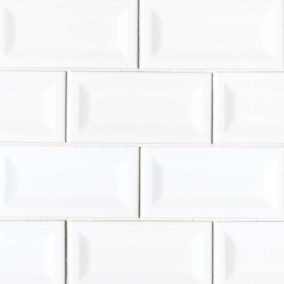MS International Backsplash Series: White Glossy 3X6 Inverted Beveled Subway Tile NWHIGLO3X6INVBEV