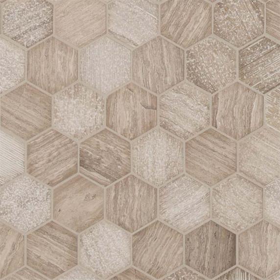 MS International Specialty Shapes Wall Series: Honey Comb 2x2 Hexagon Multi Finish Mosaic Tile SMOT-HONCOM-2HEX