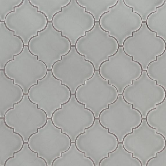 MS International Specialty Shapes Wall Series: Morning Fog Arabesque Glossy Ceramic Tile SMOT-PT-MOFOG-ARABESQ