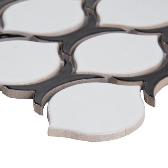 MS International Specialty Shapes Wall Series: Teardrop Tuxe Glossy Pattern Porcelain Mosaic Tile SMOT-PT-TEARDRPTU