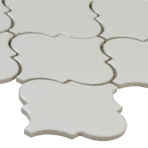 MS International Specialty Shapes Wall Series: Whisper White Glossy Arabesque Mosaic Tile SMOT-PT-WW-ARABESQ