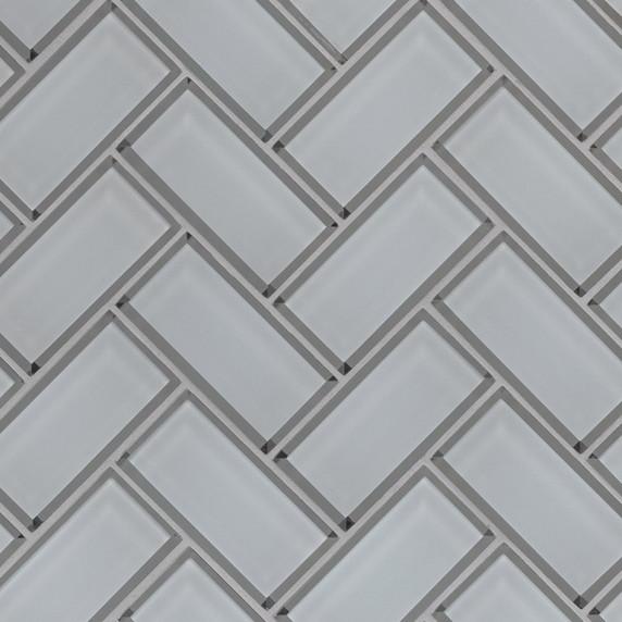 MS International Glass Tile Series: Ice Bevel White 2x4x8 Herringbone Mosaic Tile SMOT-GLS-ICEBEHB8MM