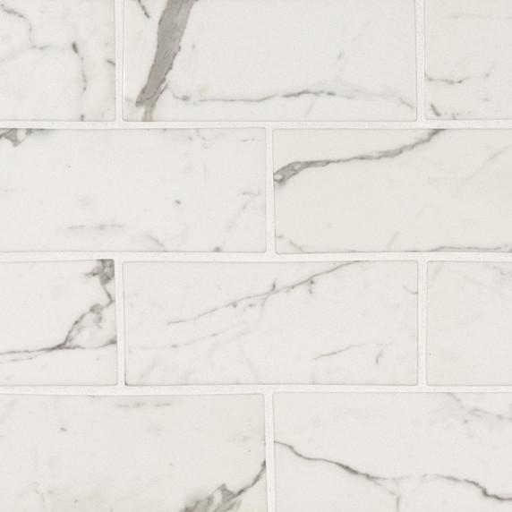MS International Glass Tile Series: Statuario Celano 3X6 Recycled Glass Pattern Mosaic Tile SMOT-GLS-STACEL36