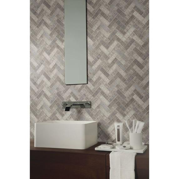 MS International Glass Tile Series: Textalia Herringbone Revaso Recycled Glass Backsplash Tile SMOT-GLS-TEXHER6MM