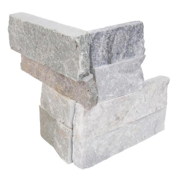 MS International Stacked Stone Series: Alaska Gray Mini 4.5X9 Split Face Mini Corner Ledger Panel LPNLMALAGRY4.59COR-MINI