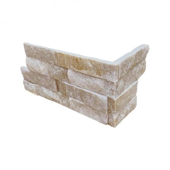 MS International Stacked Stone M-Series: Arctic Golden 4.5x9 Split Face Mini Corner Ledger Panel LPNLQARCGLD4.59COR-MINI