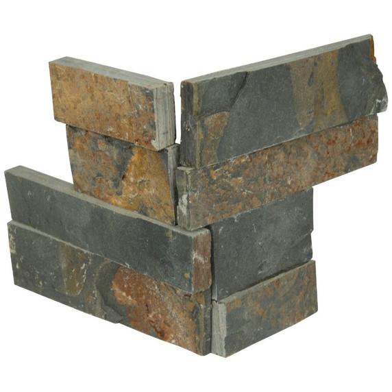 MS International Stacked Stone Series: Gold Rush 4.5X9 Split Face Mini Corner Ledger Panel LPNLSGLDRUS4.59COR-MINI