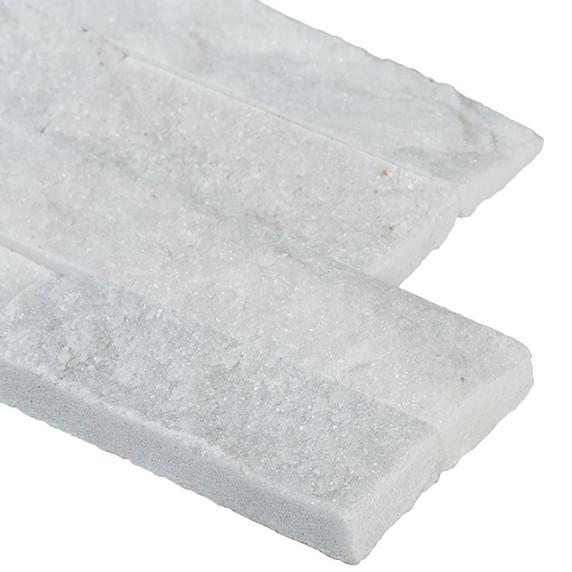 MS International Stacked Stone Series: Arctic White 6x12x6 Split Face Corner Ledger Panel LPNLQARCWHI618COR