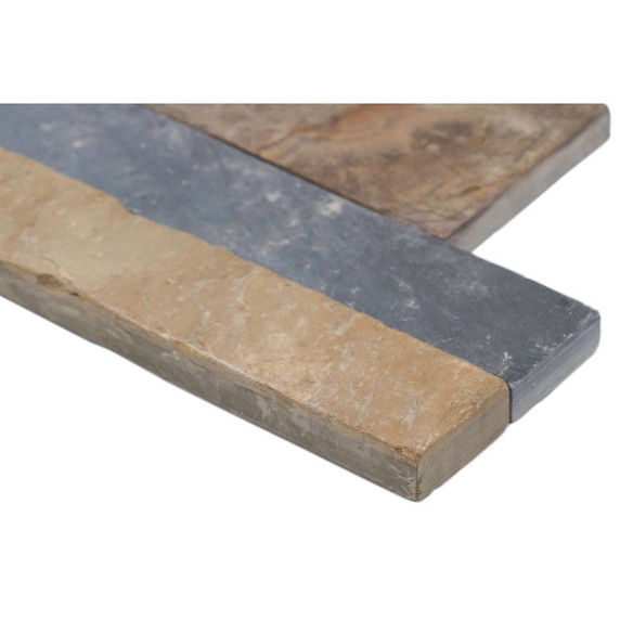 MS International Stacked Stone Series: Rustic Gold 6x12x6 Split Face Corner Ledger Panel LPNLSRUSGLD618COR