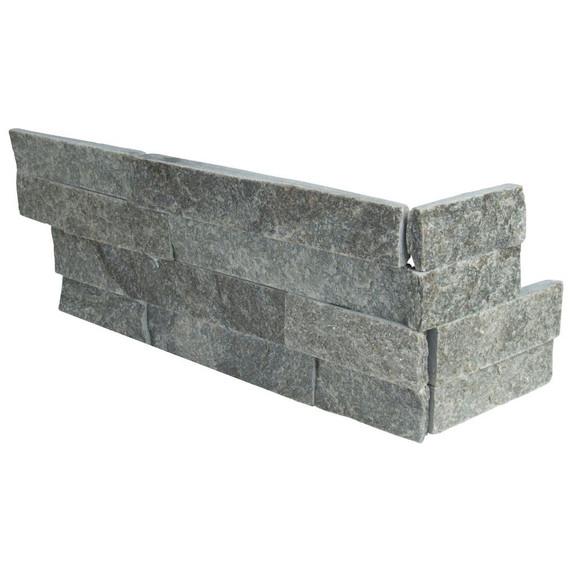 MS International Stacked Stone Series: Sage Green 6X12X6 Split Face Corner Ledger Panel LPNLQSAGGRN618COR