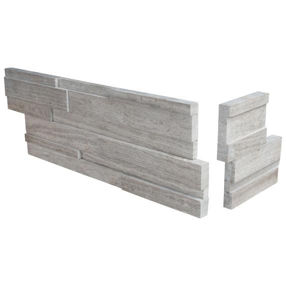 MS International Stacked Stone Series: White Oak 6x12x6 3D Honed Corner Ledger Panel LPNLMWHIOAK618COR-3DH