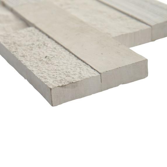 MS International Stacked Stone Series: White Oak Multi Splitface 6x12x6 Corner Ledger Panel LPNLMWHIOAK618COR-MULTI
