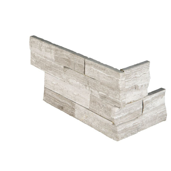 MS International Stacked Stone Series: White Oak 6x12x6 Split Face Corner Ledger Panel LPNLMWHIOAK618COR