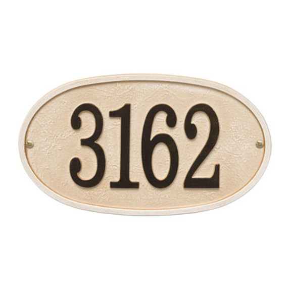 Whitehall Stonework Oval House Numbers Plaque, Standard Wall 1-line