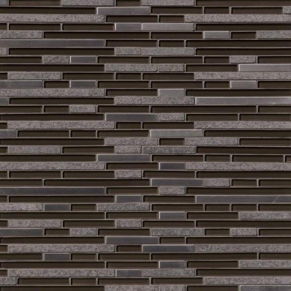MS International Glass Stone Metal Series: Niagra Interlocking Glass & Metal Wall Tile SMOT-SGLSMTIL-NG8MM