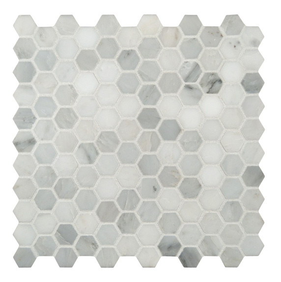 "MSI 1"" x 1"" Marble Honed Mosaic Tile in Arabescato Carrara"