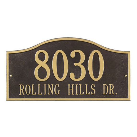 Rolling Hills Grand Wall Two Line Address Plaque