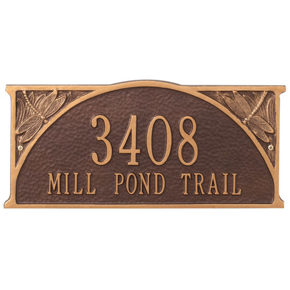 Dragonfly Standard Wall Two Line Address Plaque