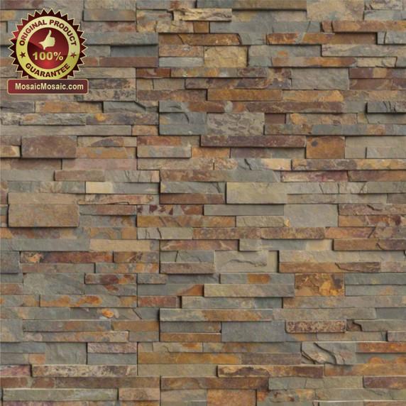 "MS International Gold Rush Ledger Panel 6"" x 24"" Natural Slate Wall Tile : LPNLSGLDRUS624"