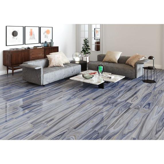MS International Dellano Series: Exotic Blue 8x48 Polished Wood Look Porcelain Tile NDELEXOBLUE8X48P