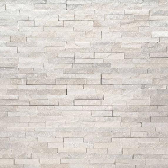 MS International Stacked Stone M-Series: Arctic White 4.5x16 Split Face Mini Ledger Panel LPNLQARCWHI4.516-MINI