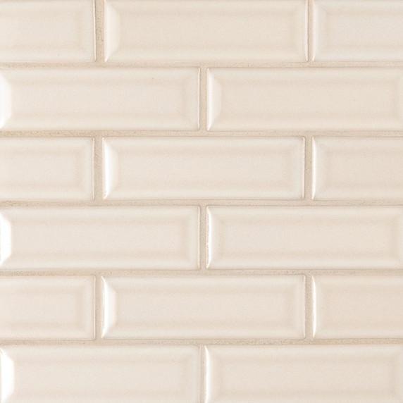 MS International Backsplash Series: Antique White Glossy 2x6 Bevel Ceramic Subway Tile SMOT-PT-AW-2X6B