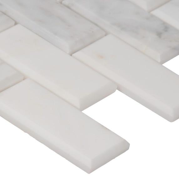 MS International Backsplash Series: Arabescato Carrara 2x4 Honed and Beveled Subway Tile SMOT-ARA-2X4HB