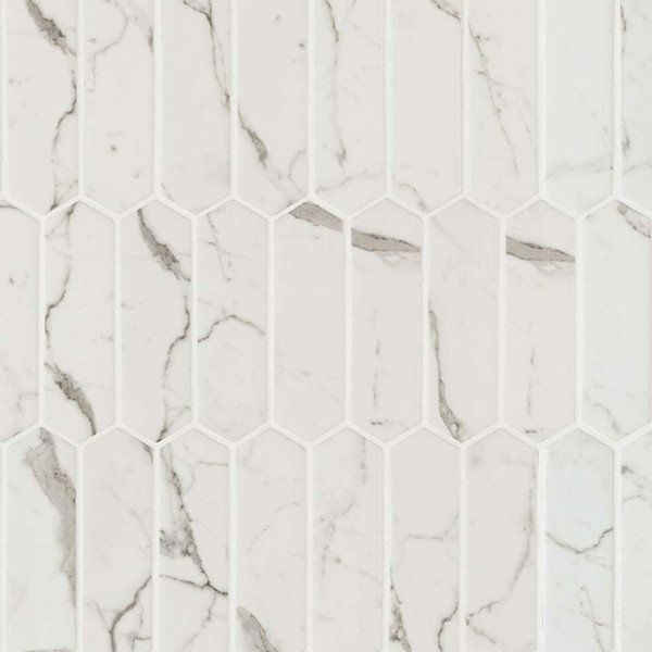 MS International Glass Tile Series: Statuaria Celano Picket 6mm Recycled Glass Mosaic Tile SMOT-GLSPK-STACEL6MM