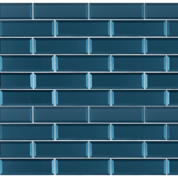 MS International Glass Tile Series: Tahiti Blue 2.5x8 Beveled Glass Subway Tile SMOT-GL-T-TAHBLU2.5X8