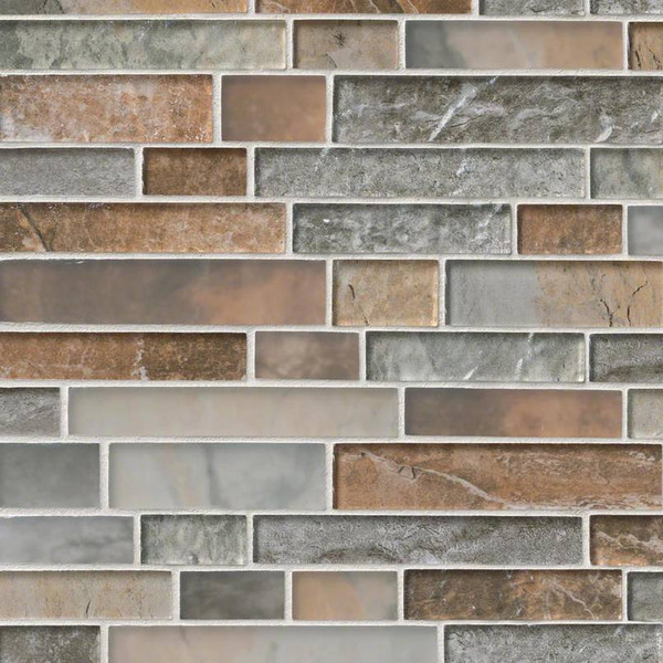 MS International Glass Tile Series: Taos Interlocking Pattern Inkjet Glass Mosaic Tile SMOT-GLSIL-TAOS8MM