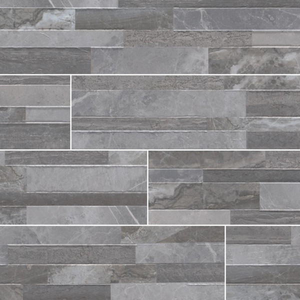 MS International Stacked Stone Series: Palisade Grey 6X24 Matte Porcelain Ledger Panel NPALGRE6X24