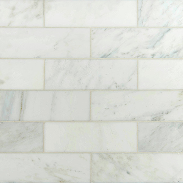 "MS International Backsplash Series: Arabescato White Carrara 4"" x 12"" Subway Tile TARACAR412H"