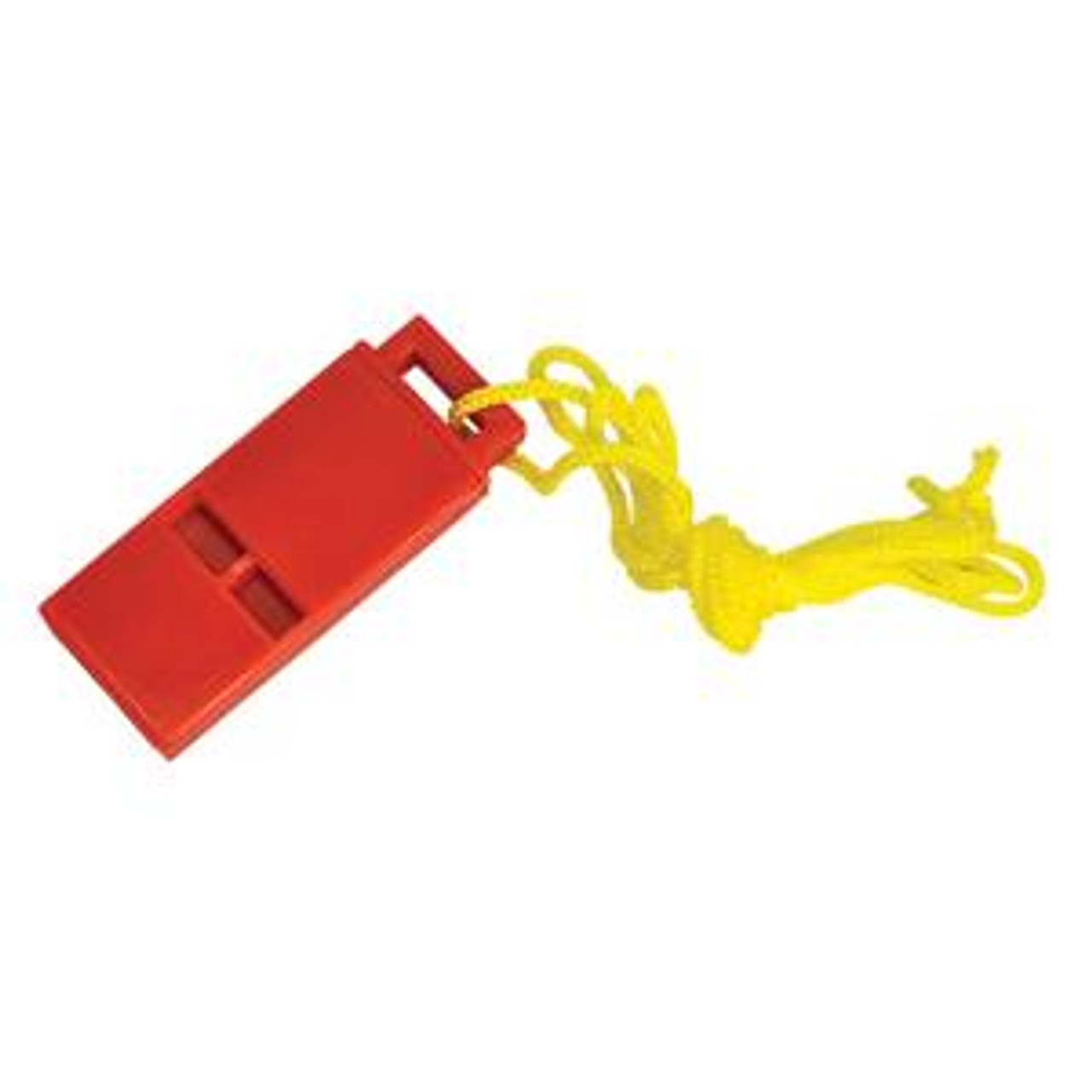 Red Plastic whistle with Lanyard.