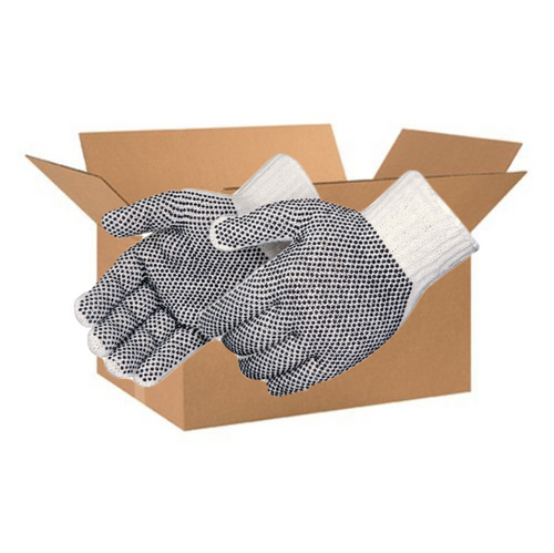Case of Gloves- String Knit PVC Dots- Large size only - 20 Dozen